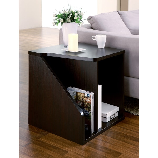 Furniture of america braxton modern double storage cappuccino end table overstock shopping - Contemporary side tables with storage ...
