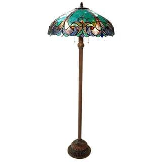 Halston Tiffany-style Victorian 2-light Floor Lamp