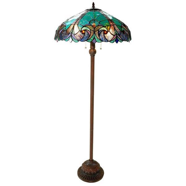 chloe tiffany style victorian design 2 light floor lamp 15654501. Black Bedroom Furniture Sets. Home Design Ideas