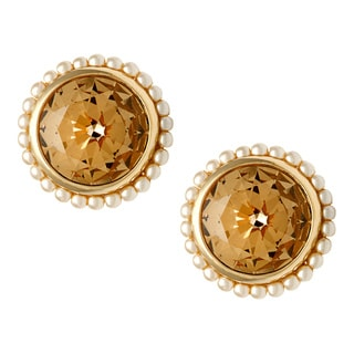 Carolee Goldtone Champagne CZ and Faux Pearl Clip-on Earrings