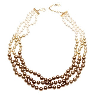 Carolee Goldtone Faux Pearl and Crystal Necklace