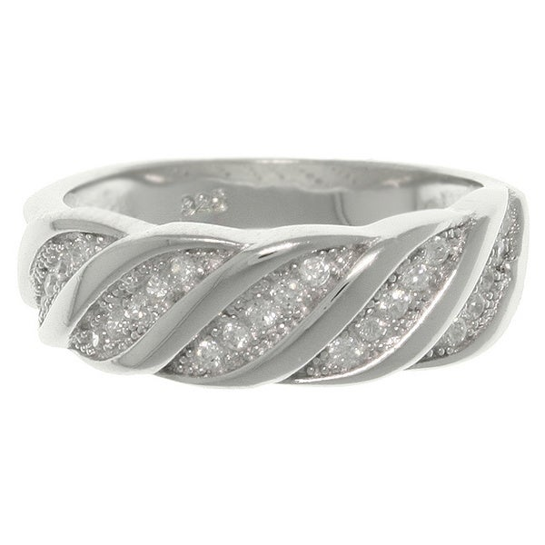 Carolina Glamour Collection Sterling Silver CZ Diagonal Swirl Ring
