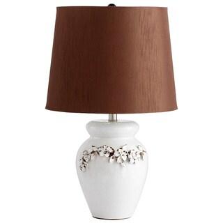 Cyan Design 'Anza' White Floral Motif Ceramic Table Lamp