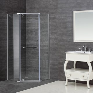 Aston 36 x 36-inch Clear Glass Neo-Angle Semi-Frameless Shower Enclosure