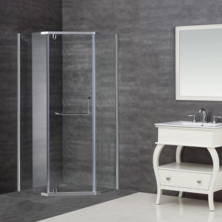 Aston 38 x 38-inch Clear Glass Neo-Angle Semi-Frameless Shower Enclosure