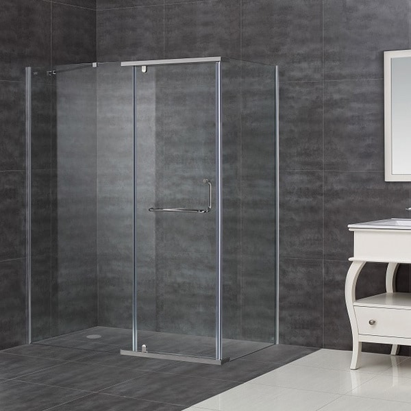 "Aston 60 x 35-inch 3/8"" Clear Glass Semi-Frameless Shower Enclosure"