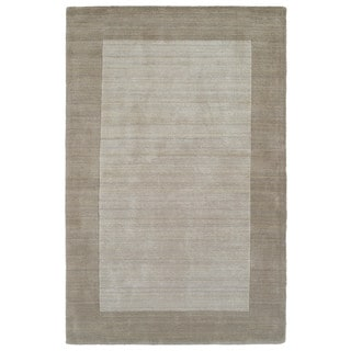 Borders Hand-Tufted Ivory Wool Rug (5'0 x 7'9)