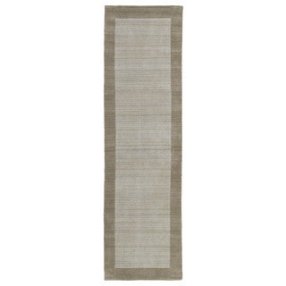 Borders Hand-Tufted Ivory Wool Rug (2'6 x 8'9)