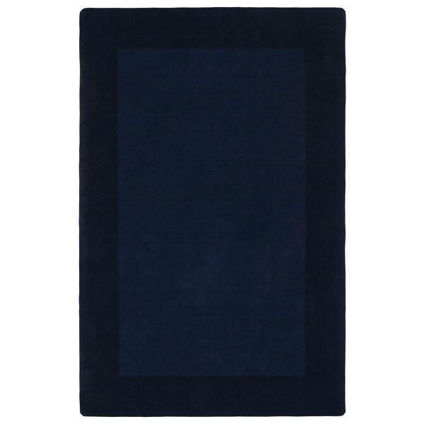 Borders Hand-Tufted Navy Wool Rug (5'0 x 7'9)