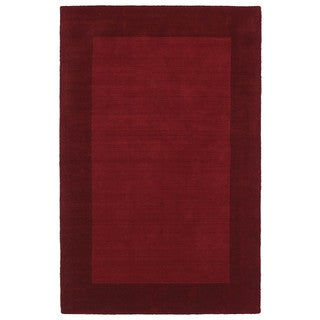 Borders Hand-Tufted Red Wool Rug (9'6 x 13'0)