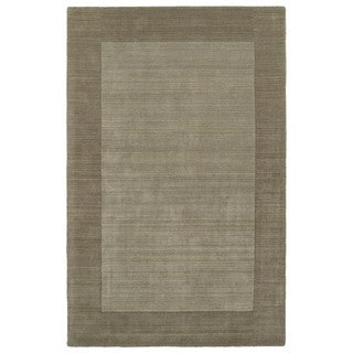 Borders Hand-Tufted Taupe Wool Rug (8'0 x 10'0)