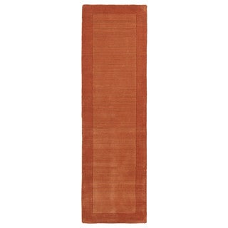 Borders Hand-Tufted Orange Wool Rug (2'6 x 8'9)