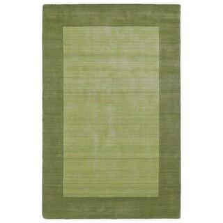 Borders Hand-Tufted Green Wool Rug (5'0 x 7'9)