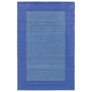 Borders Hand-Tufted Ice Blue Wool Rug (5'0 x 7'9)