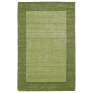 Borders Hand-Tufted Green Wool Rug (9'6 x 13'0)