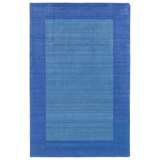Borders Hand-Tufted Ice Blue Wool Rug (9'6 x 13'0)