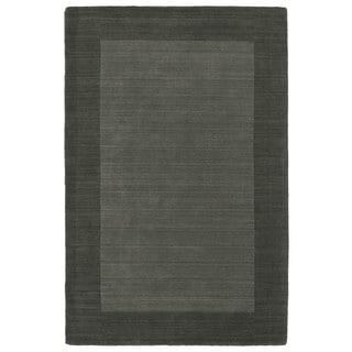 Borders Hand-Tufted Grey Wool Rug (5'0 x 7'9)