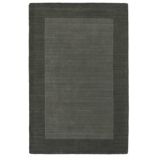 Borders Hand-Tufted Grey Wool Rug (5'0 x 7'9)