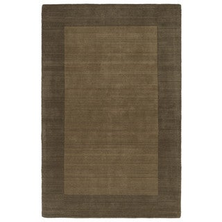 Borders Hand-Tufted Chocolate Wool Rug (3'6 x 5'3)