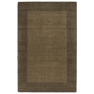 Borders Hand-Tufted Chocolate Wool Rug (3'6 x 5'3)