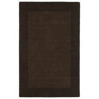 Borders Hand-Tufted Brown Wool Rug (9'6 x 13'0)