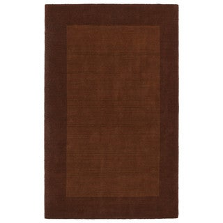 Borders Hand-Tufted Copper Wool Rug (8'0 x 10'0)