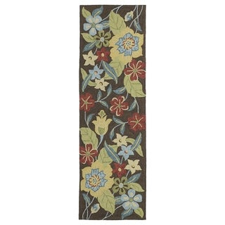 Seaside Chocolate Garden Indoor/Outdoor Rug (2'6 x 8'0)