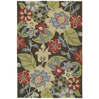 Seaside Chocolate Garden Indoor/Outdoor Rug (5'0 x 7'6)