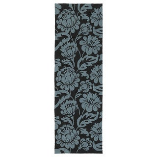 Seaside Black Garden Indoor/Outdoor Rug (2'6 x 8'0)