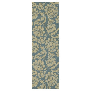 Seaside Blue Garden Indoor/ Outdoor Rug (2'6 x 8')