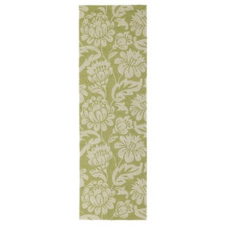 Seaside Green Garden Indoor/ Outdoor Rug (2'6 x 8')
