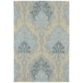 Seaside Blue Ikat Indoor/ Outdoor Rug (5' x 7'6)