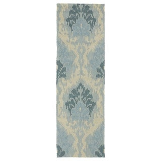 Seaside Blue Ikat Indoor/ Outdoor Rug (2'6 x 8')
