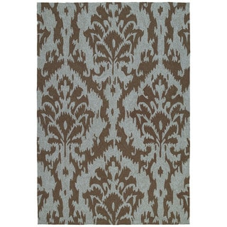 Seaside Chocolate Ikat Indoor/ Outdoor Rug (4' x 6')