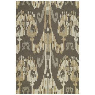 Seaside Brown Ikat Indoor/ Outdoor Rug (10' x 14')