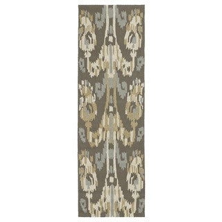 Seaside Brown Ikat Indoor/ Outdoor Rug (2'6 x 8')