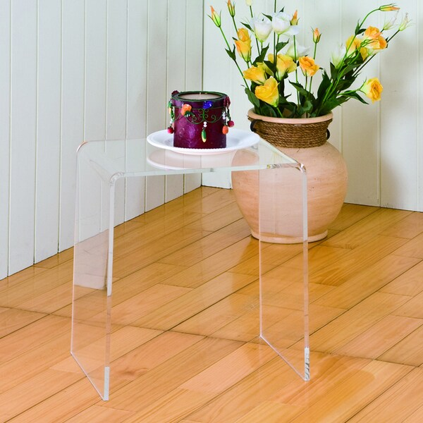 Clear acrylic accent table 15655934 overstockcom for Overstock acrylic coffee table