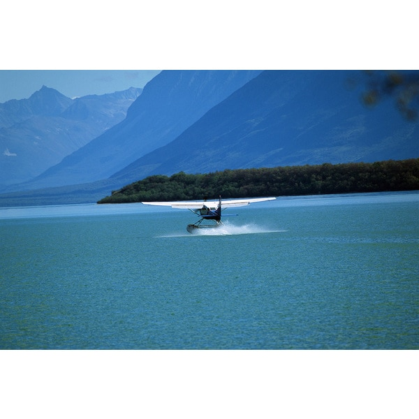 'Seaplane on water' Photography Print Canvas Wall Art