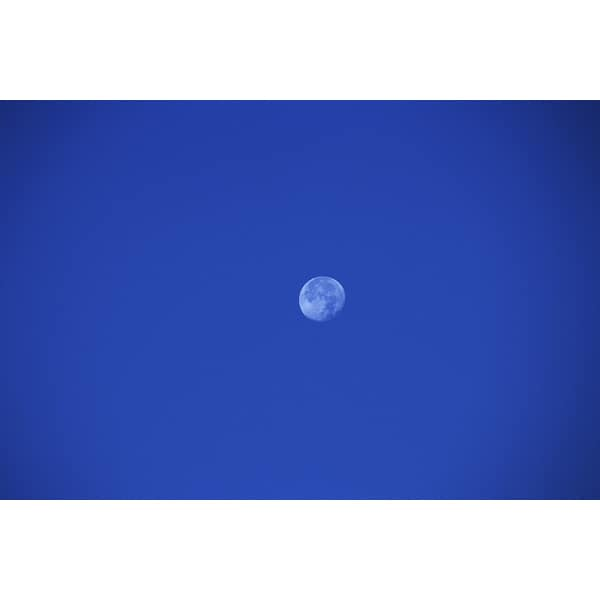 'Moon in a blue sky' Photography Print Canvas Wall Art