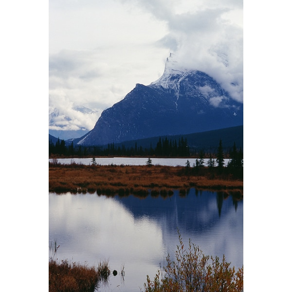 'Mountain with rural river, Alberta, Canada' Photography Print Canvas Wall Art