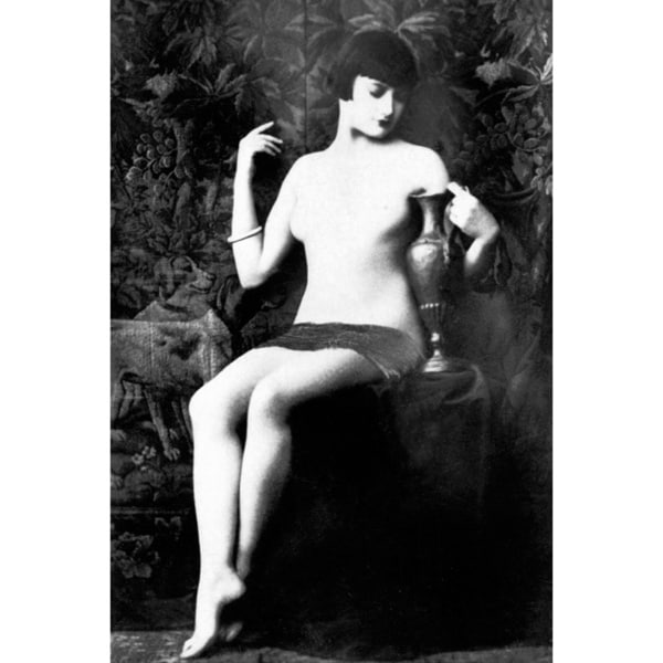 'Vintage Image of Nude Woman in Chair' Photography Print Canvas Wall Art