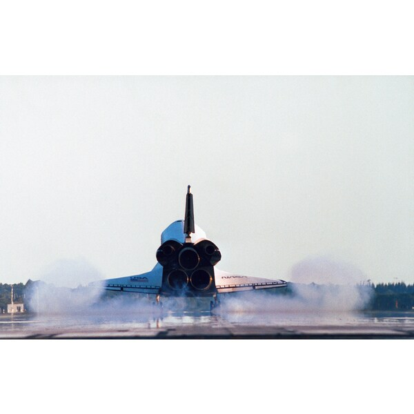 'Rear view of the landing of the space shuttle' Photography Print Canvas Wall Art