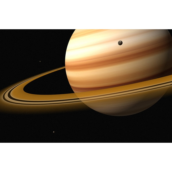 Jason Reed 'Saturn and a Moon of Saturn' Photography Print Canvas Wall Art