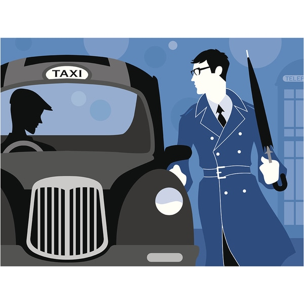 'London Businessman Getting in Taxi' Modern Canvas Print Wall Art