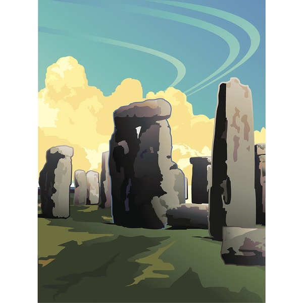 'Illustration of Stonehenge in Southern England' Modern Canvas Print Wall Art