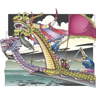 'Dragon Boat Racing, Illustration' Modern Canvas Print Wall Art