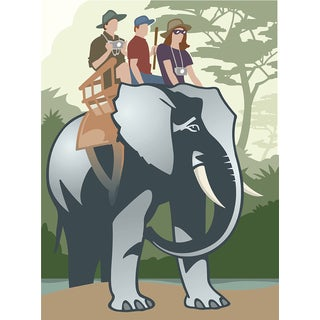 'Family Riding Elephant in African Safari' Modern Canvas Print Wall Art