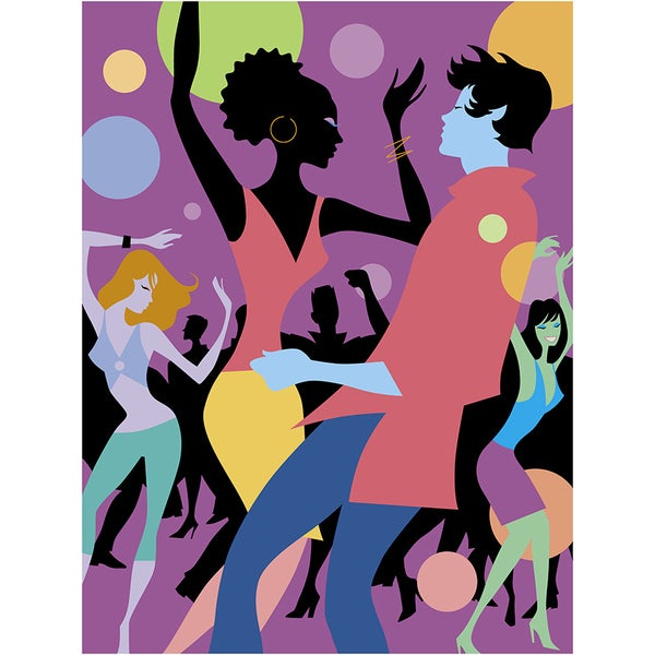 'People Dancing at a Local Night Club' Modern Canvas Print Wall Art