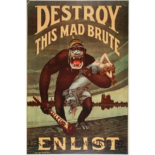 'Vintage World War I Recruitment Poster' Modern Canvas Print Wall Art