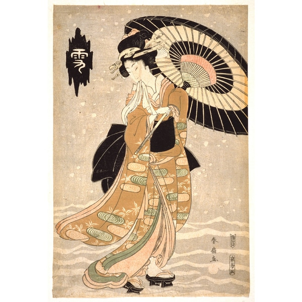 "'Woman in Snow"" Modern Canvas Print Wall Art"